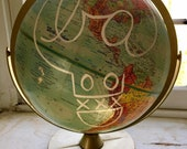Vintage World Globe with BA Tag