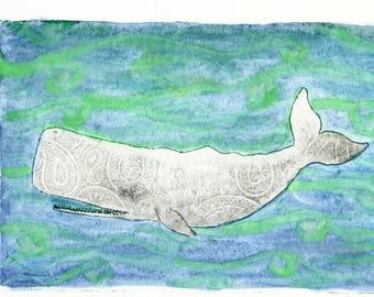 Whale - Original Aquatint Etching
