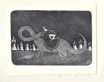 Domestication - Original Aquatint Etching Handmade Fine Art Intaglio Print  5.91 x 4.88 in