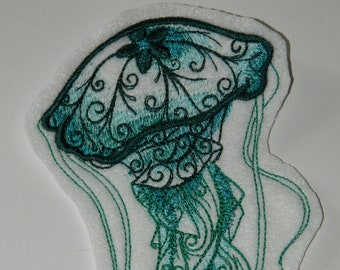 "2 Jellyfish Blue Silver Beach Ocean Summer Iron On Sew On Patch 4/"" L x 3.25/"" W"