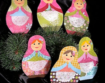 Russian Matroyshka Doll Paper Ornaments--Set of Six