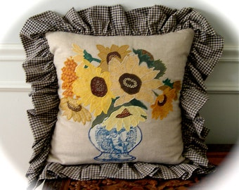 Sunflower Vase Appliqued Pillow with Ruffle