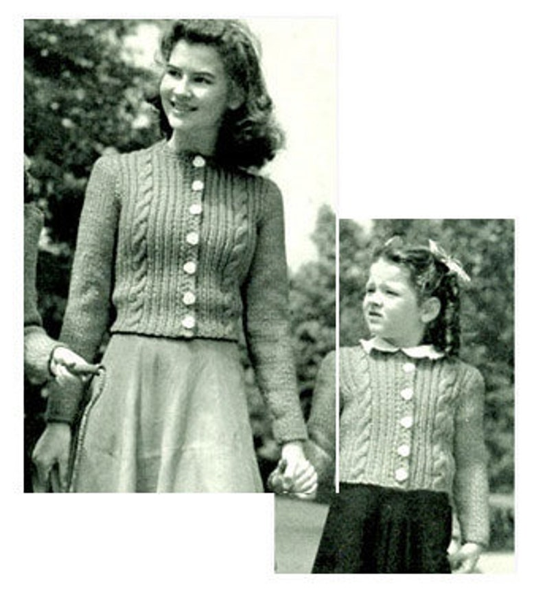 Vintage Mother and Daughter Cabled cardigans
