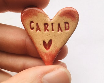 Cariad ceramic heart brooch. Made in Wales, UK. Free UK P&P.