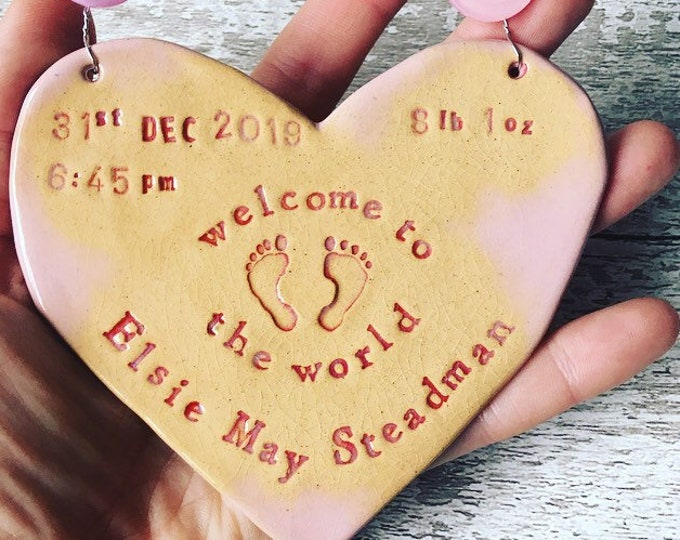 Featured listing image: Welcome to the World CUSTOM baby heart