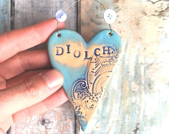 Diolch (thank you) Hanging Heart