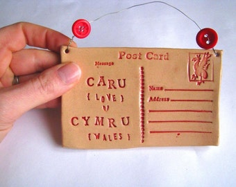 Caru Cymru  (LOVE WALES) Ceramic Postcard. Free UK P&P. Made in Wales.