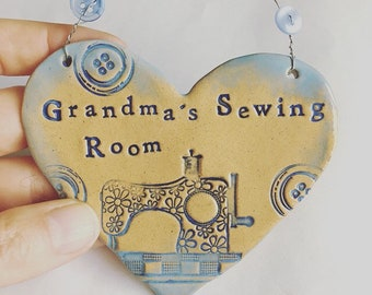 Personalised Sewing Room heart. Made in Wales. Free UK postage