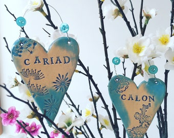Welsh language hearts, Cwtch, Calon, Cariad