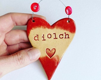Diolch (Thanks in Welsh) Heart