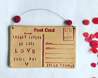 Though Lovers be Lost - Dylan Thomas postcard