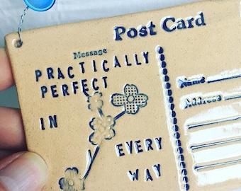 Practically Perfect - Ceramic postcard