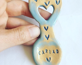 Small Cariad (Love in Welsh) Ceramic Love Spoon