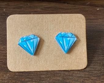 SALE! Diamond Stud Earrings - cute pun resin blue diamond cabochons, hypoallergenic