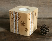 Winter Birch Candle Holder - Woodburning