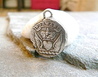 """Wax Seal Jewelry """"FORWARD"""" Wax Seal Necklace From Heraldry, Keep Calm & Carry On - Symbolic Mens Jewelry Motivational HEART, WINGS, Crown,"""