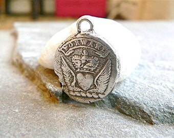 """Wax Seal Jewelry """"FORWARD"""" Wax Seal Necklace  -  Keep Calm & Carry On - Mens jewellery  HEART,  WINGS and Crown, Motivational, Inspirational"""