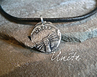 Wax Seal Necklace: UNITE, Symbolic Talisman,  Mens Jewelry, Wax Seal ARROW Pendant,  Game of Thrones, Outlander Style, Feather Jewellery