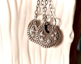 SISTER of the MOON & STARS Earrings~ Sterling Silver Earrings. OnE of a Kind,  Sterling, Boho Hippie  70's Jewelry, Reversible Patterns