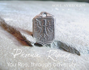 Handmade Wax Seal Jewelry PHOENIX RISING, Wax Seal Necklace, Message Jewelry for Men Symbolic Talisman Amulet, Rise From the Ashes Jewellery