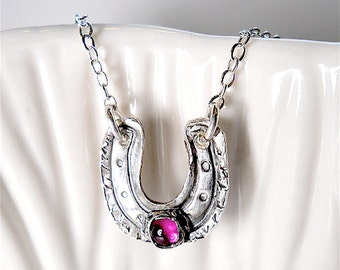 Handmade Pink Ruby Silver Horseshoe Necklace. EQUESTRIAN Gift, July Birthstone. Good Luck Talisman HORSE Lover Your Daily Jewels  Jewellery