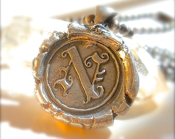 Edwardian Silver Wax Seal Jewelry Jewelry Initial Pendant .  Mens Jewelry . Gothic. Olde English ~ Jewellery ~ Your Daily Jewels