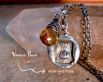 """Spark PASSION Antique Italian Wax Seal Necklace """"VIVA e PURA """" Follow Your Passion + Dreams ~Great Symbolic Gift  w/ meaning for Artisan"""