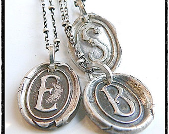 Wax Seal Jewelry, Stamped INITIAL Necklace Charm, Wax Seal Necklace, Victorian Style,  Personalized Jewellery, MONOGRAM, Silver Initial