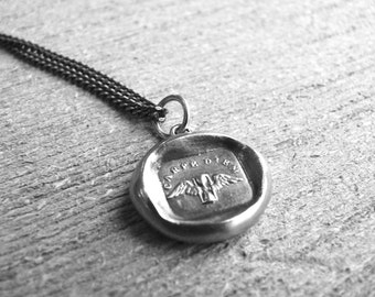 YOUR TIME is NOW ~ Wax Seal Jewelry  ~ Carpe Diem ~ Seize the Day,  Time Flies ~Winged Hourglass  Talisman, Antique Wax Seal Men's Necklace