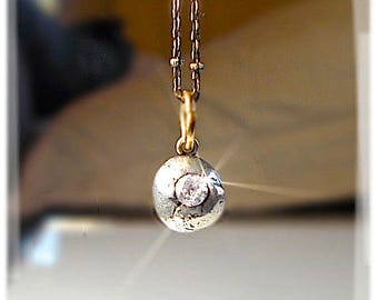 BALL 'n CHAIN Minimalist Mixed Metal Petite Sterling Pendant . Misshapen Oxidized Orb Necklace . Cubic Zirconium, ONE of a Kind Jewellery