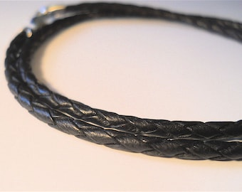 Men's Jewelry Black BRAIDED Leather Necklace, 3 mm Thick.