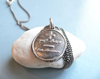 LOVE: More Than YESTERDAY, Less Than TOMORROW  -Sterling Wax Seal Jewelry French, Romantic Love Talisman Charm, Also Available in Bronze,