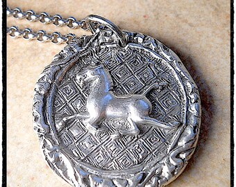 Wax Seal jewelry Horse Necklace, Oversized Sterling Silver Equestrian Pendant. Reversible Gift for Horse Lover, Equine, Antique Jewelry