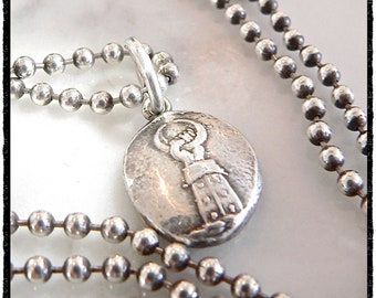 NEW BEGINNINGS Crescent MOON -  Wax Seal Pendant ~Large Sterling Charm -Mens Jewelry w/ Meaning - Symbolic- Inspirational Talisman Charm
