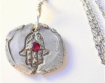 HAMSA Hand Red RUBY Gemstone Silver Charm TALISMAN Jewelry, Yoga Necklace, Mehndi Style . Evil Eye