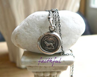 """Wax Seal Necklace, """"FAITHFUL""""  Best Friend - Dog Pendant, """"UNCONDITIONAL Love"""" Talisman, Jewellery, Dog Charm, Gift For Dog Lover, BFF"""