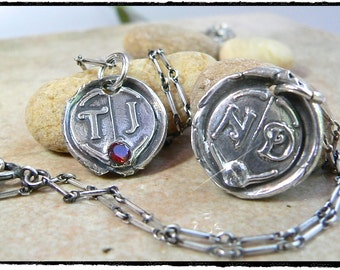 Wax Seal Necklace Double Initial Necklace Bridesmaids  New Moms, Eco-Friendly, Monogram, ADD a Birthstone