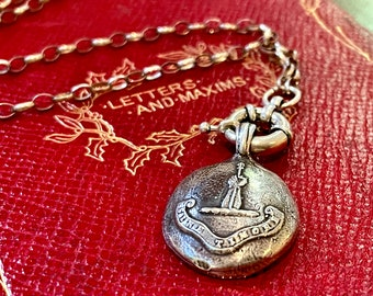 """Wax Seal Necklace """"WITHOUT FEAR""""-MENS Jewelry-Latin Motto  'Sine Timore'  Antique Wax Seal Pendant,  Sterling Talisman AvaiL.in French too!"""
