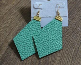 Naked Phoenix Leather Earrings - Seafoam Green