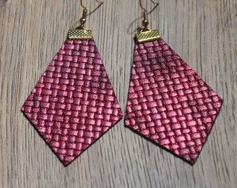 Naked Phoenix Leather Earrings - Woven Red
