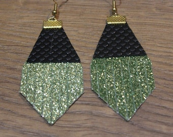 Holiday Titan Leather Earrings - Chartreuse Glitter and Black