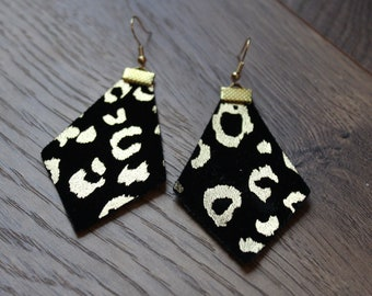 Naked Phoenix Earrings - Black with Gold Leopard