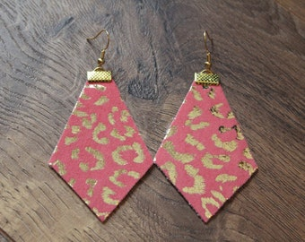 Naked Phoenix Earrings - Coral with Gold Leopard