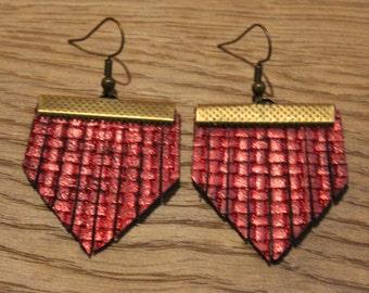 Mini Titan Leather Earrings - Woven Red