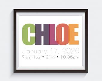 Birth Announcement Poster. Custom Birth Announcement. Modern Birth Announcement Wall Art. Baby Nursery Wall Print Poster. Digital Art File