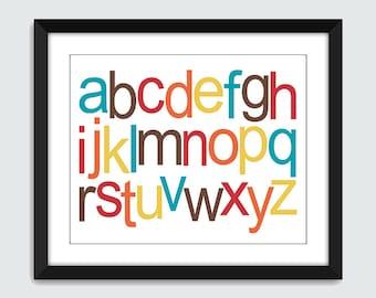 Lowercase Alphabet ABC Horizontal Wall Art. Alphabet Wall Print. 8x10 Baby Children Nursery Wall Print Poster