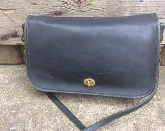 61bea1ea99 Black Leather Coach Purse Vintage Shoulderbag Coach Leather Cross Body Bag