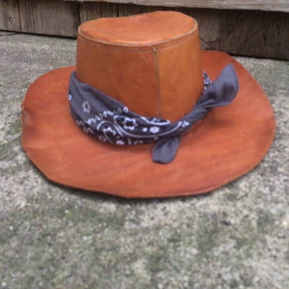 Leather Cowboy Hat Vintage Hat Hippie Hat, Leather