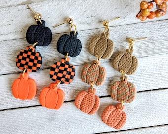 Checkered triple pumpkin earrings pierced polymer clay handmade holloween holiday