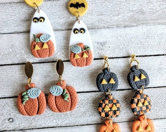 Earrings pierced stud Jack O lantern polymer clay handmade holloween ghost pumpkin fall